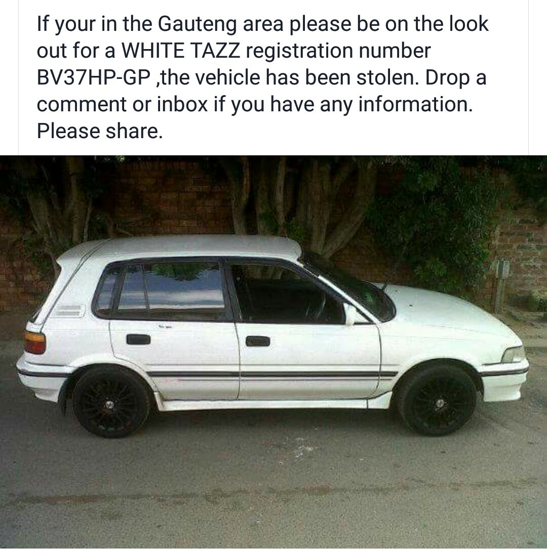 Please RT friends!  A friends car was stolen in Highlands North