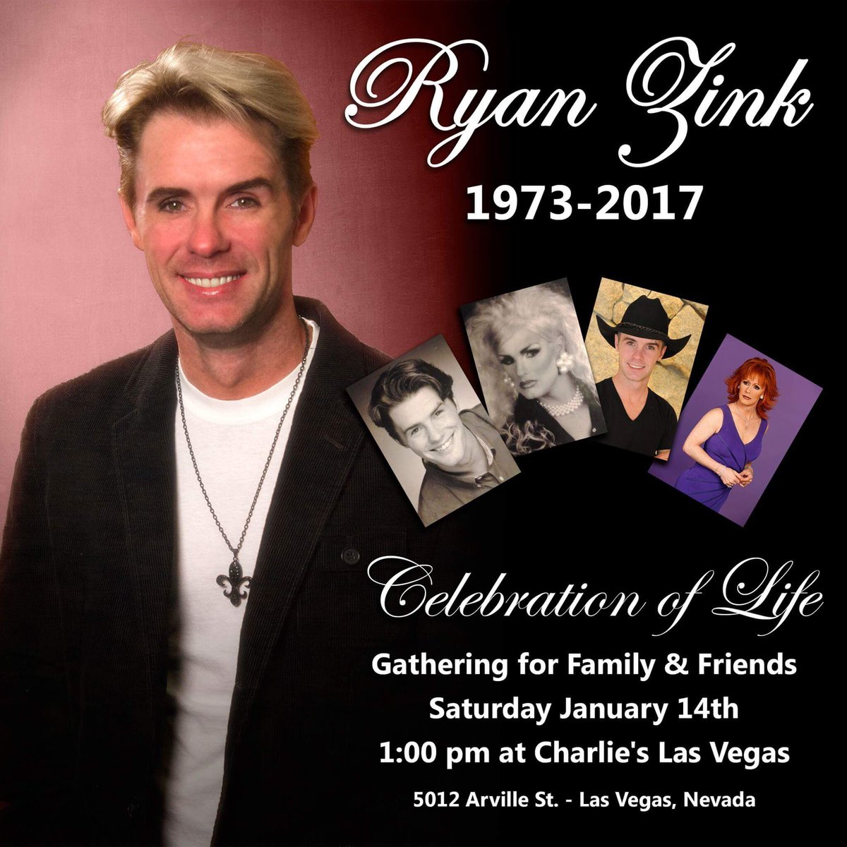 Ryan Zink Celebration of Life gathering for family & friends Saturday January 14th 1:00pm at Charlie's Las Vegas https://t.co/ASEM5gEcJF