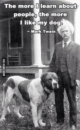 Here is some #WednesdayWisdom from Mark Twain! Do you agree? #dogs #quotes #MarkTwain #dogsoftwitter #DogLovers #LoveDogs<br>http://pic.twitter.com/gPEz4cQ7Hg