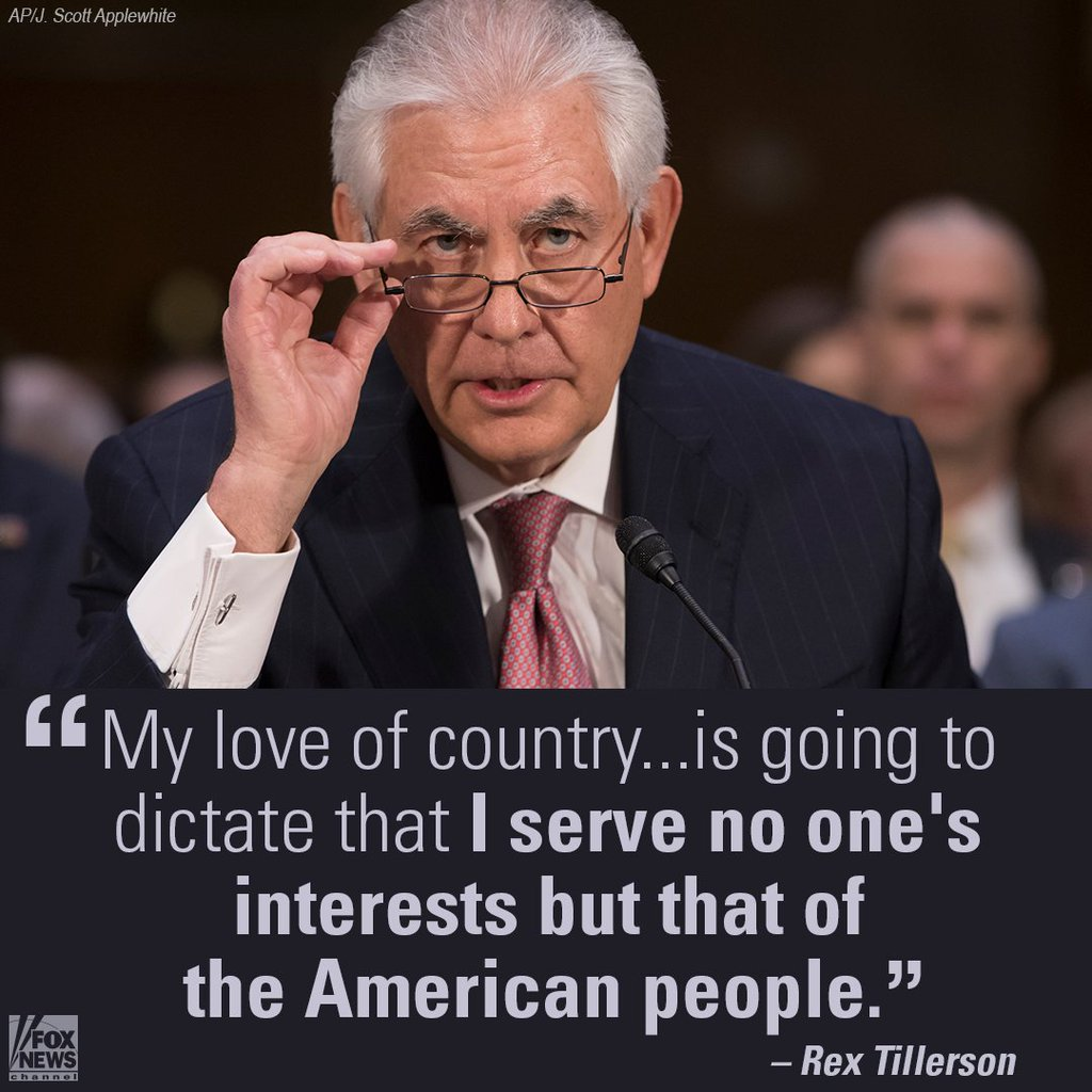 &quot;My love of country ... is going to dictate that I serve no one&#39;s interest but that of the American people!&quot; #RexTillerson 4THEPPL @AnnaBD20<br>http://pic.twitter.com/qTmsfcptlA