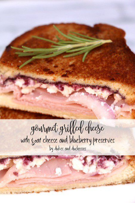 Gourmet Grilled Cheese with Goat Cheese and Blueberry Preserves