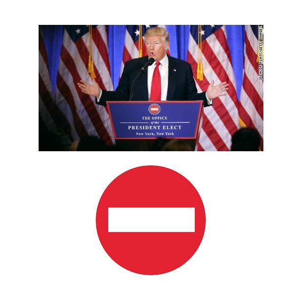 "did anyone else notice that the trump white house logo is basically the ""no entry"" symbol? https://t.co/mzI522T1Bb"