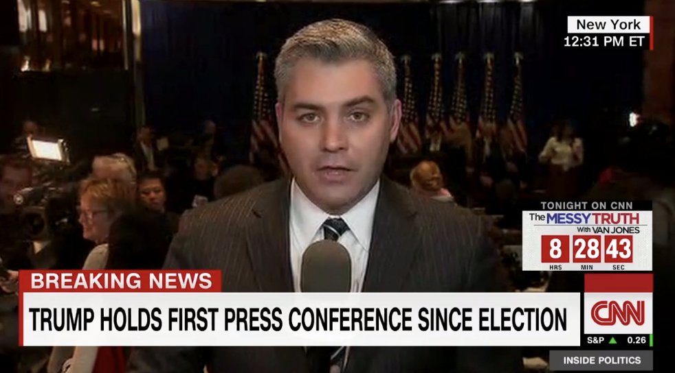 SCHLONGED  #Trump to CNN&#39;s Jim Acosta  &quot;Your organization is terrible. You&#39;re fake news&quot;  #TrumpPressConference<br>http://pic.twitter.com/yD30MS1rr9