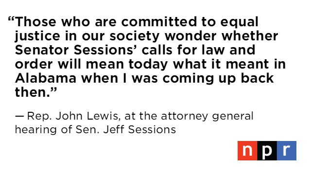 Rep. John Lewis testifying now at Sessions' attorney general hearing....