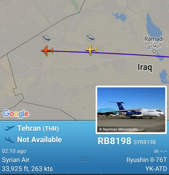 Two Assad Il-76T from Tehran approaching Damascus now