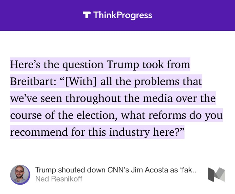 Trump took this question from Breitbart after complaining about fake n...