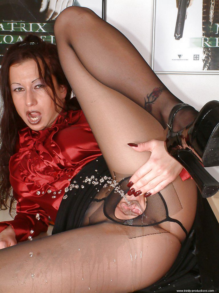 Pantyhose stockings pee #4