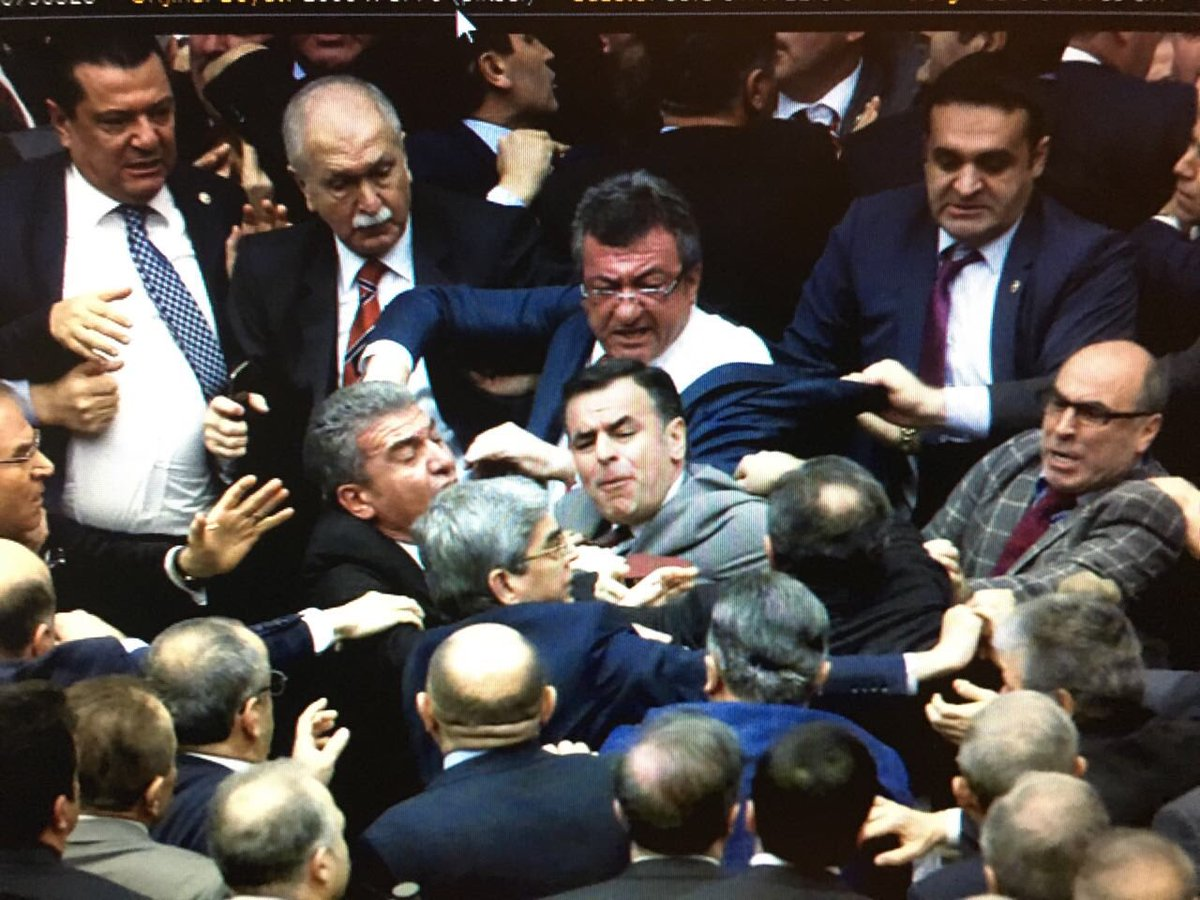 Brawl in Turkish parliament