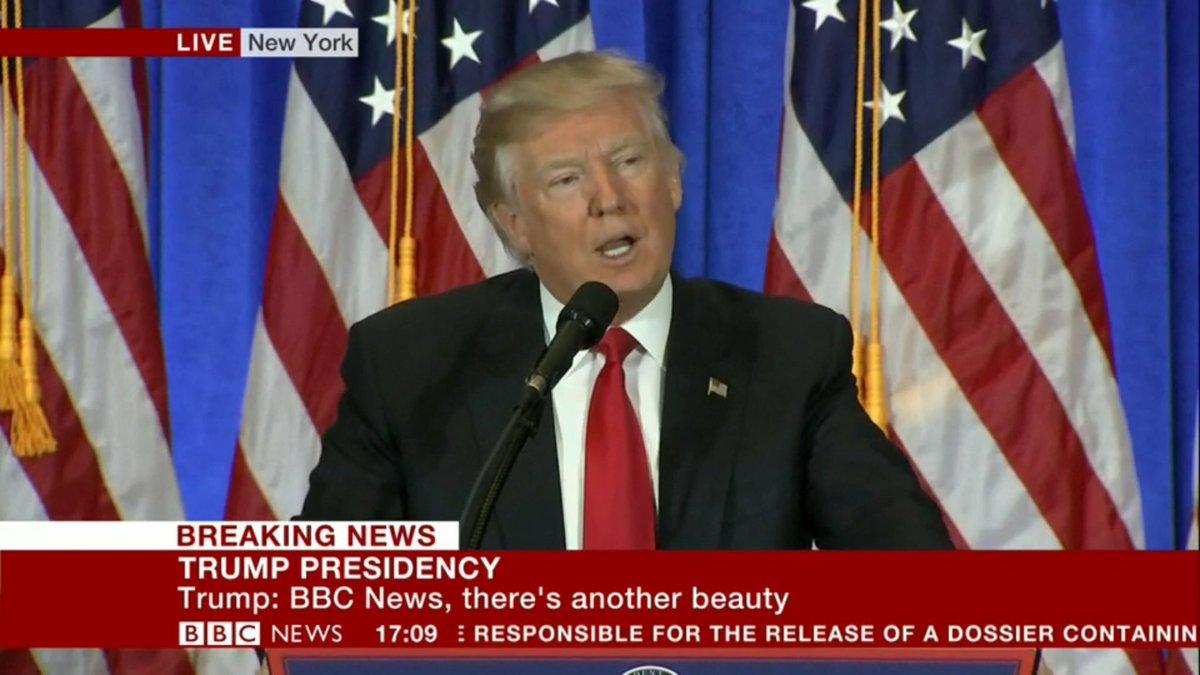 Trump insults @bbcnews during #TrumpPressConference #BBCFakeNews<br>http://pic.twitter.com/E35jkjg5z2