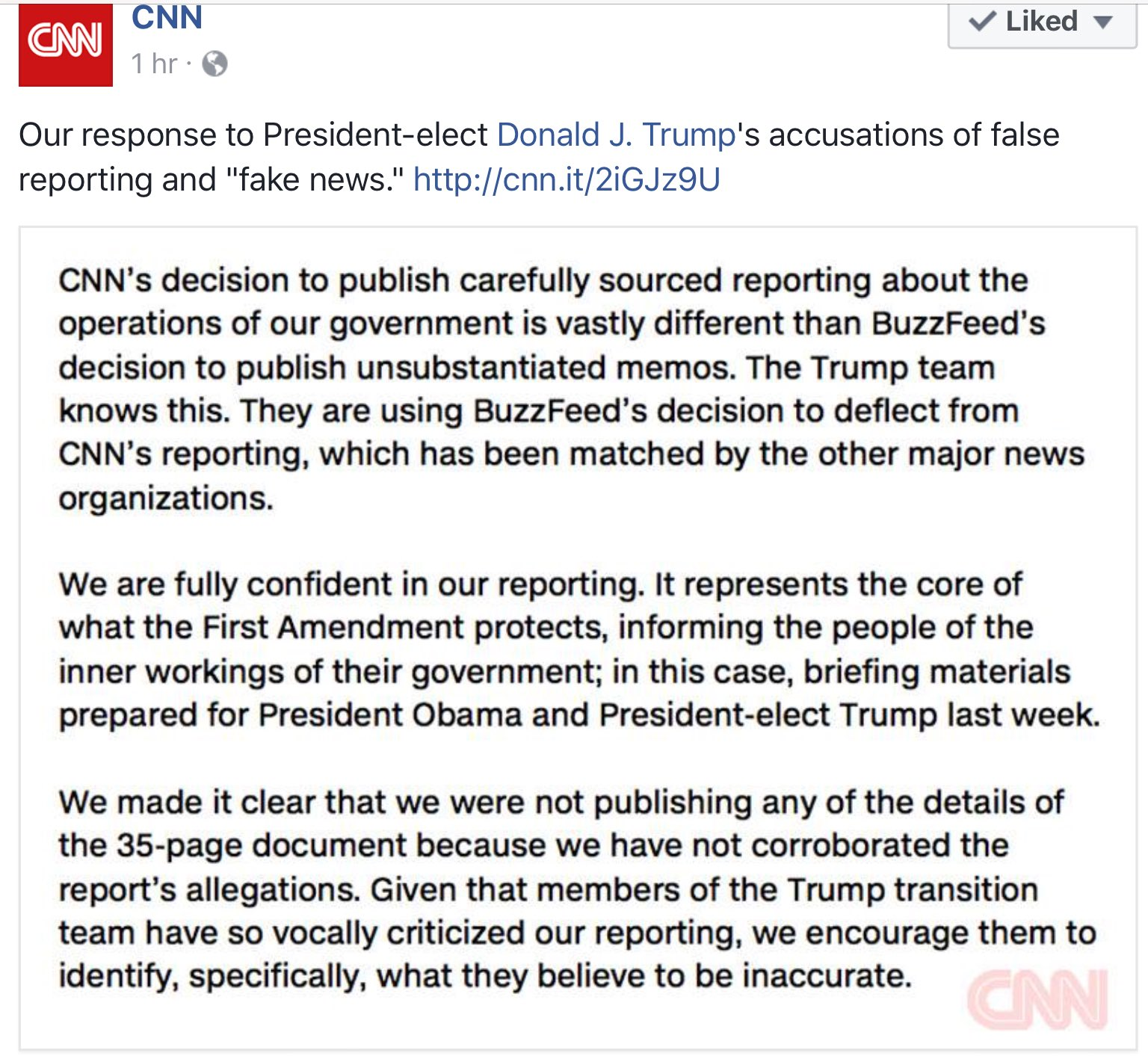 Following @realDonaldTrump's behavior toward Jim @Acosta during the press conference, @CNN published this response: https://t.co/Kul2ySY36s https://t.co/mRQuQlKJsc