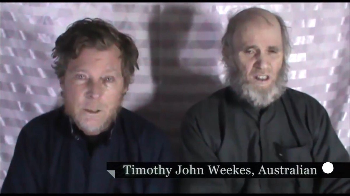 In video released by AFG Taliban, hostages Timothy Weekes (Australian) and Kevin King (American) are clearly fearing for their lives