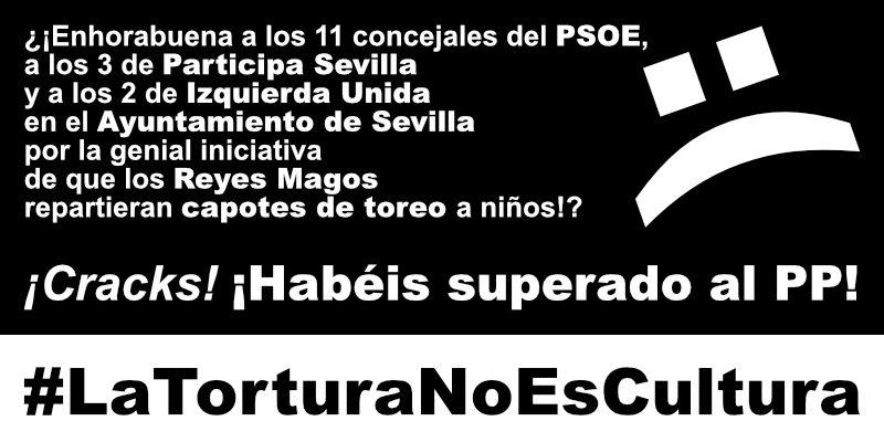 ¿¡Los #ReyesMagos reparten en Sevilla capotes de toreo!?   http://www. abc.es/cultura/toros/ abci-reyes-magos-regalaron-mas-300-capotes-sevilla-201701092104_noticia.html &nbsp; …   Gobierno de @PSOE, Participa Sevilla y @iunida: ¡#CRACKS!<br>http://pic.twitter.com/22j2Jz0bP0