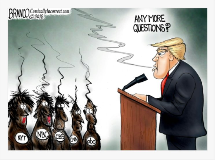 Donald Trump blasts The media for their bias reporting and misrepresenting the facts - An @afbranco Cartoon - #TrumpPressConference  #PEOTUS <br>http://pic.twitter.com/MKZt5ktK1k