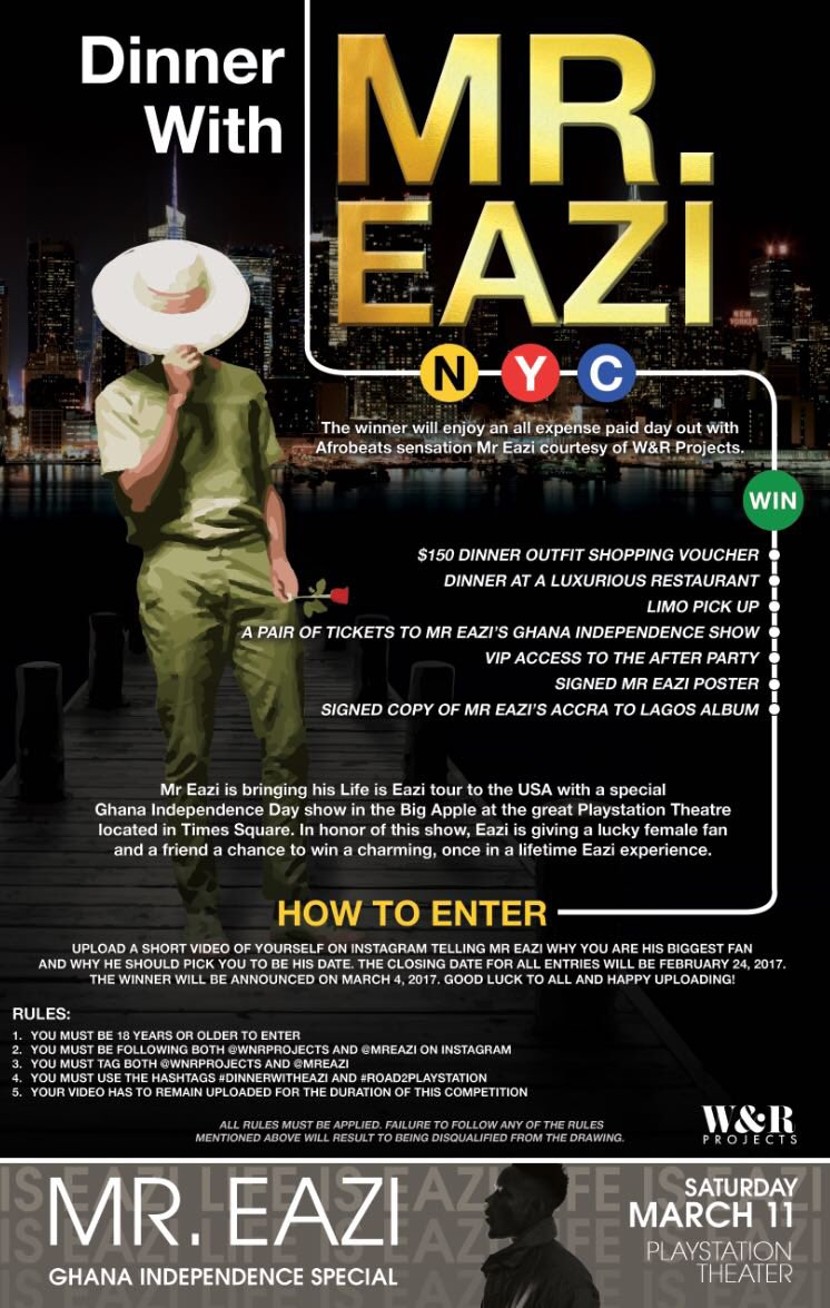 Dinner With Mr Eazi NYC see flier for details!! https://t.co/LvGtLb5YD...