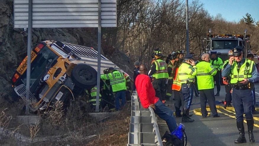 School bus rolls over in Massachusetts with 22 kids on board
