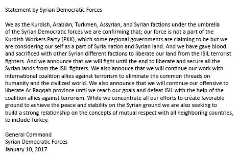 SDF statement yesterday where they claimed to have no affiliation or ties to the PKK, Syria.
