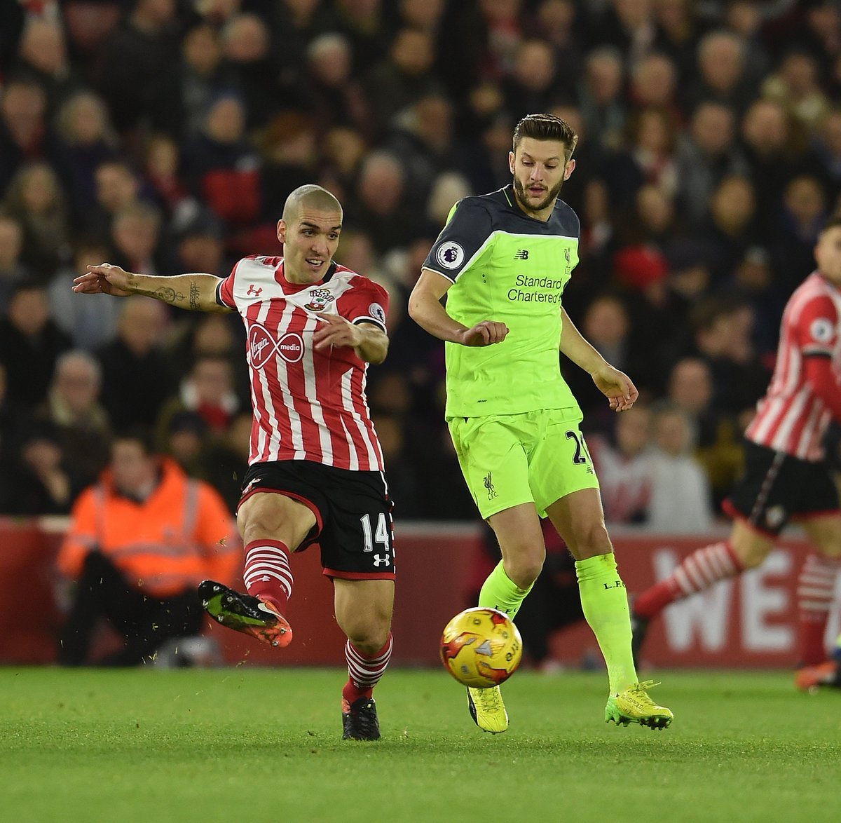 59: Lallana finally finds a bit of space but his shot goes wide.  Bett...