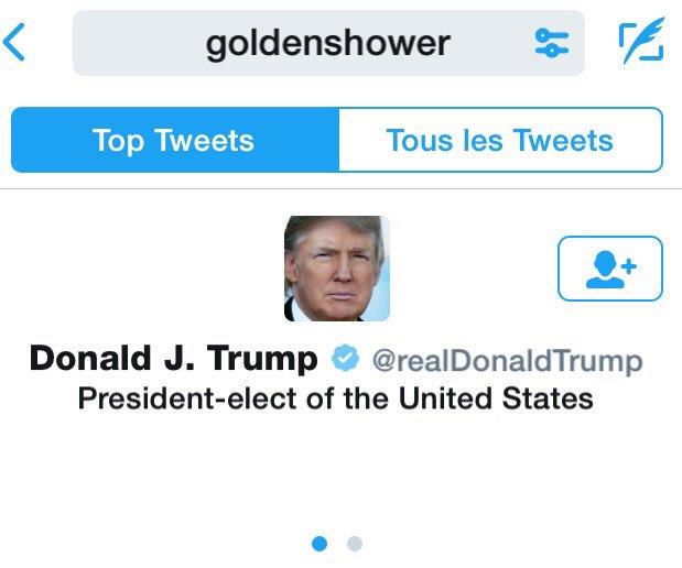 Quand tu tapes #goldenshower, #Twitter te propose direct @realDonaldTrump, le compte officiel de #Trump.<br>http://pic.twitter.com/TyfLDpsVyn