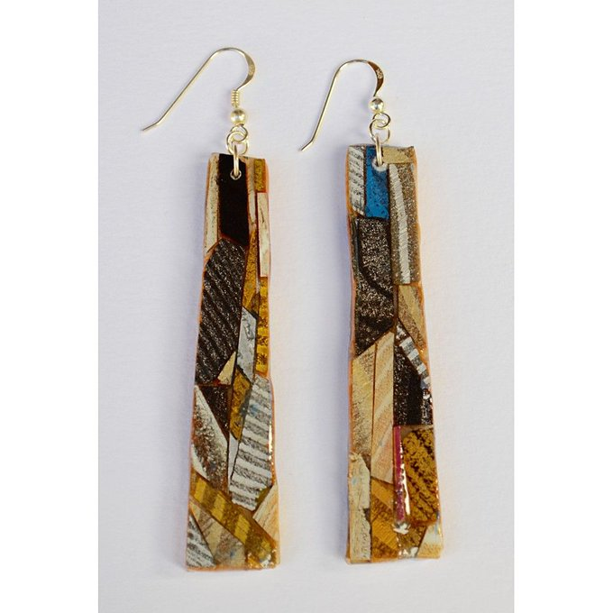 long wood mosaic earrings