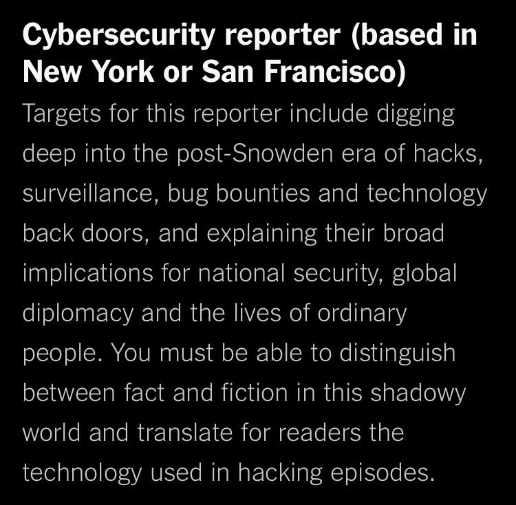NYT is hiring, among many other things, a cyber security reporter https://t.co/hGpMteTHpB https://t.co/nl1wBy1sVX