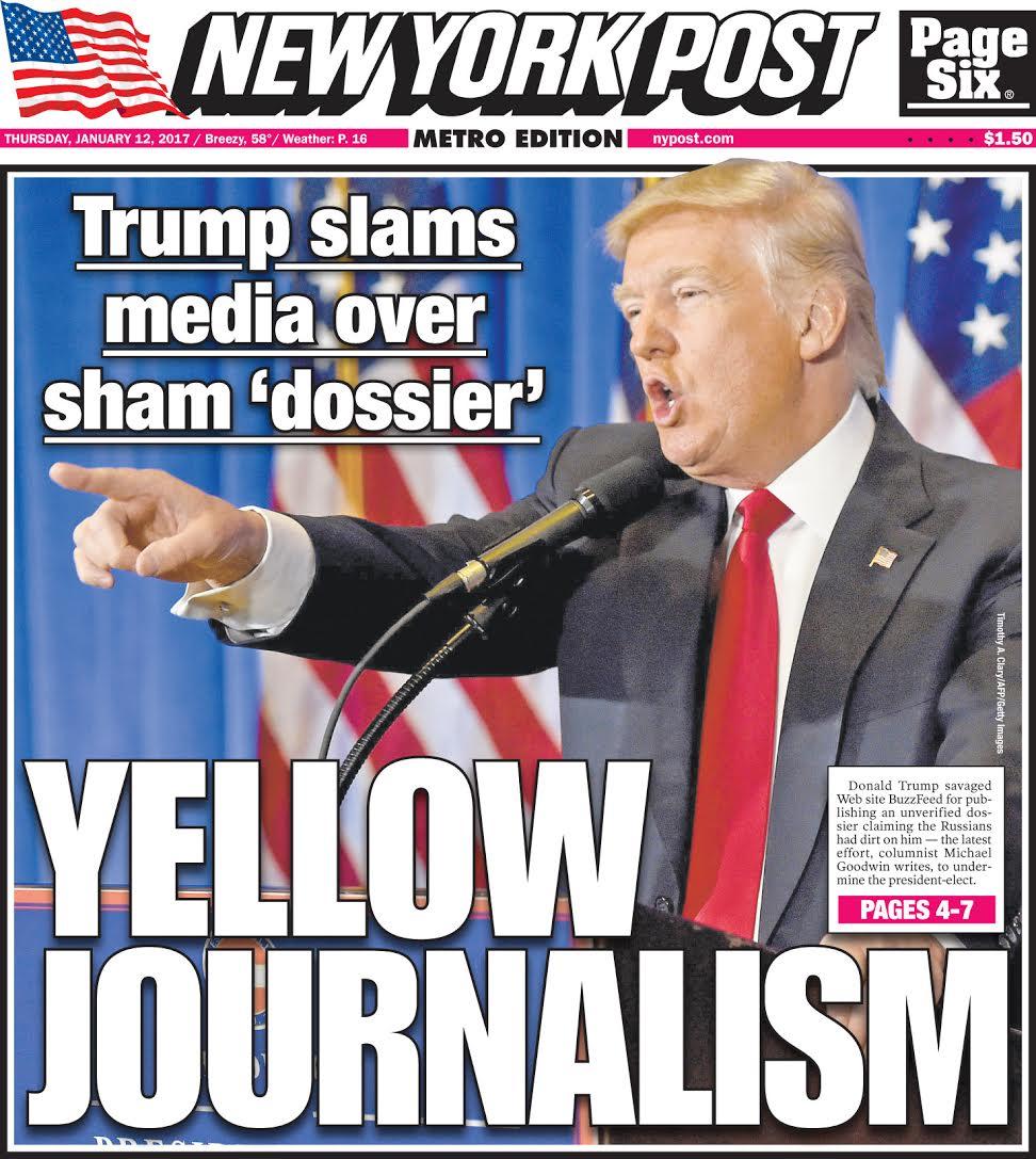 La Une que le @nypost présentera à ses lecteurs demain. #GoldenShower <br>http://pic.twitter.com/uvaB3mwuYq