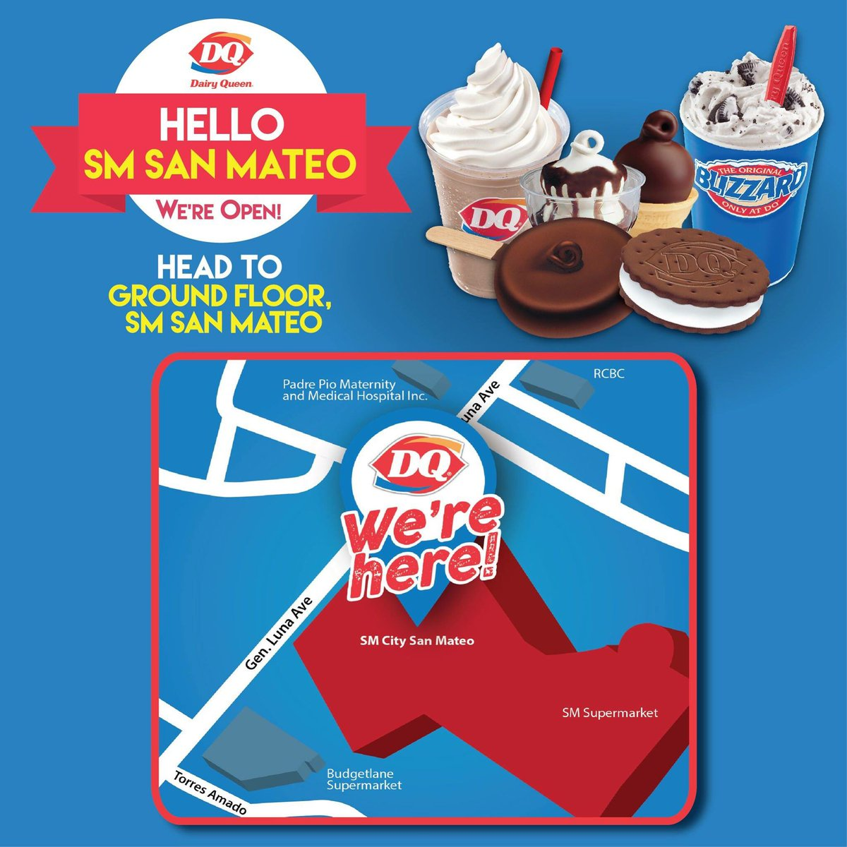 Yay! We are thrilled to have a new DQ Store! Visit us at our newly opened store in SM San Mateo. See you there! #DairyQueenPH https://t.co/67jZTARhXR