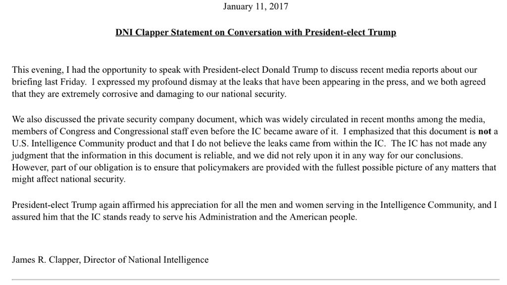 Statement from director of national intelligence on conversation with Trump tonight https://t.co/xt3GJwMyLc