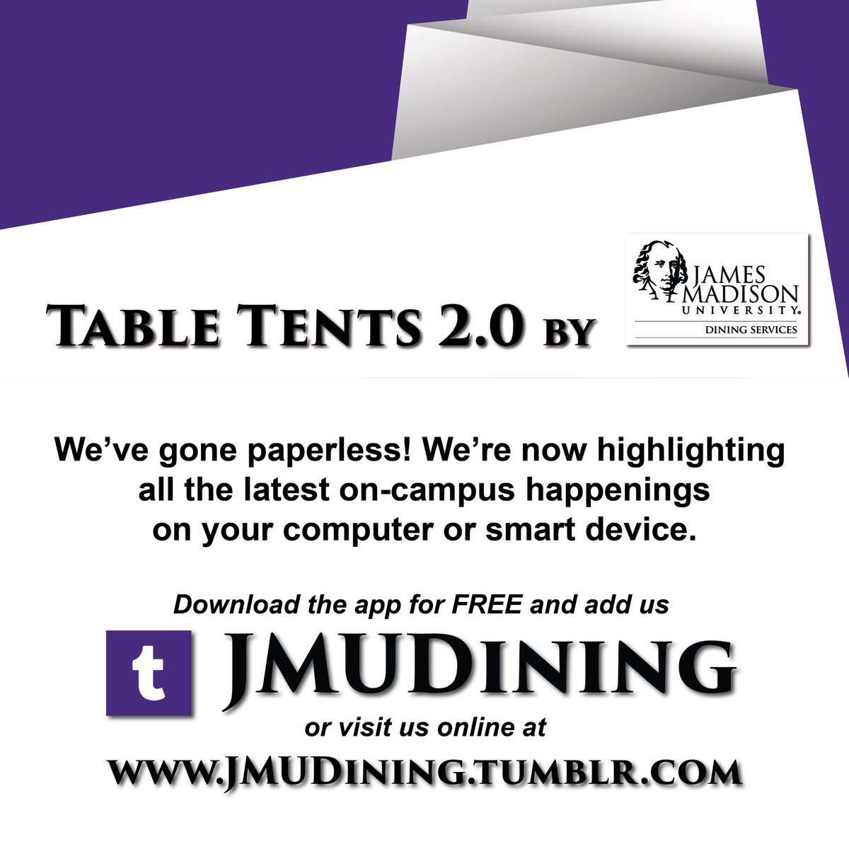 JMU Dining Services on Twitter  To follow us on Tumblr visit //t.co/eP5aO4Afvk. #TableTents2Point0u2026    sc 1 st  Twitter & JMU Dining Services on Twitter:
