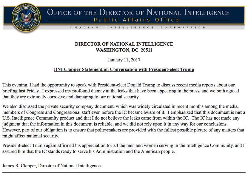 Full statement by Dir of Nat'l Intelligence James Clapper on conversation with @realDonaldTrump about leaks, security company dossier
