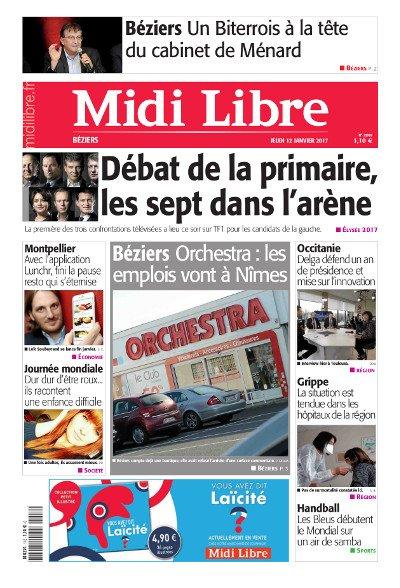 #MidiLibre Bonjour #Béziers ! Voici la Une de @MLBeziers de ce jeudi 12 janvier #PrimaireLeDebat #Orchestra #grippe #Occitanie<br>http://pic.twitter.com/rdIGdoAlwG
