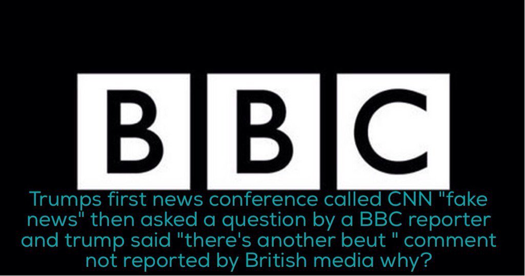 #TrumpPressConference @BBCNews @BBCBreaking any response from trump calling BBC &quot;FAKE NEWS&quot; your silence is telling<br>http://pic.twitter.com/mcxEwflgAC