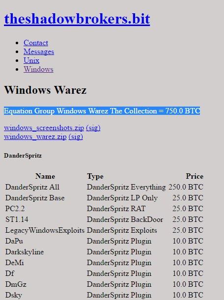 Les Hackers des outils de Hack de la NSA les remettent en vente sur le Dark net 750BTC le package complet! #cybersecurite #cybercrime #hack <br>http://pic.twitter.com/md180GaqXS
