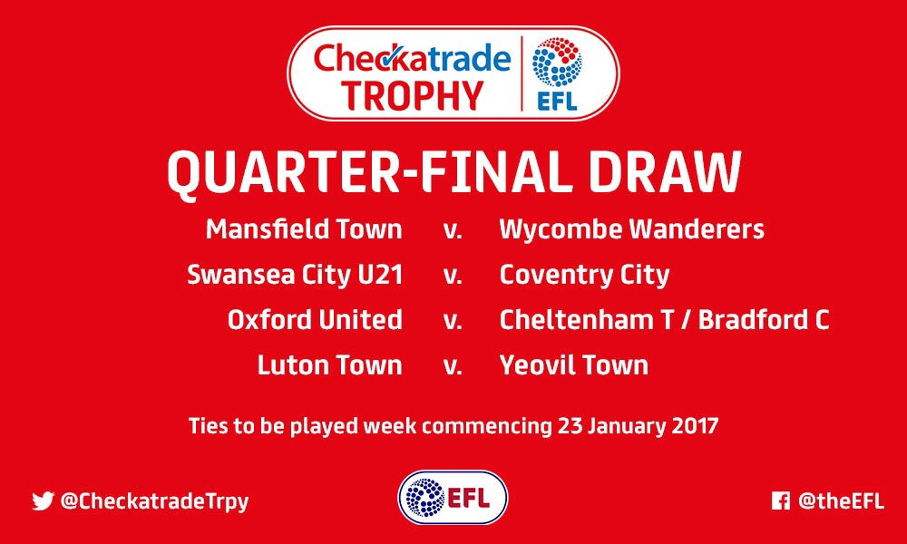 DRAW: Here is the #CheckatradeTrophy Quarter-Final draw in full.   🏆 h...