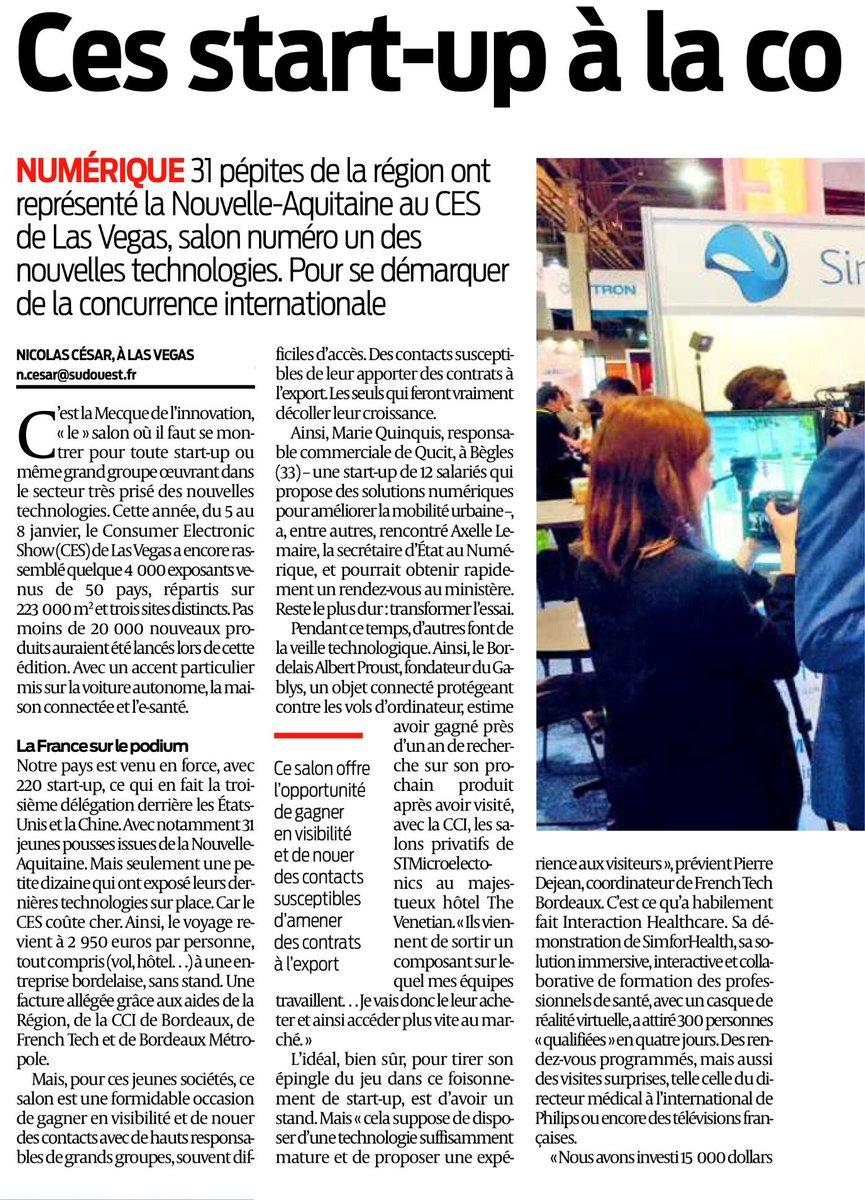 31 #startup ont représenté la @NvelleAquitaine au @CES 2017 dont @qucit, pépite de @Bdx_Technowest Via @SudOuestEco par @NicolasCesar33