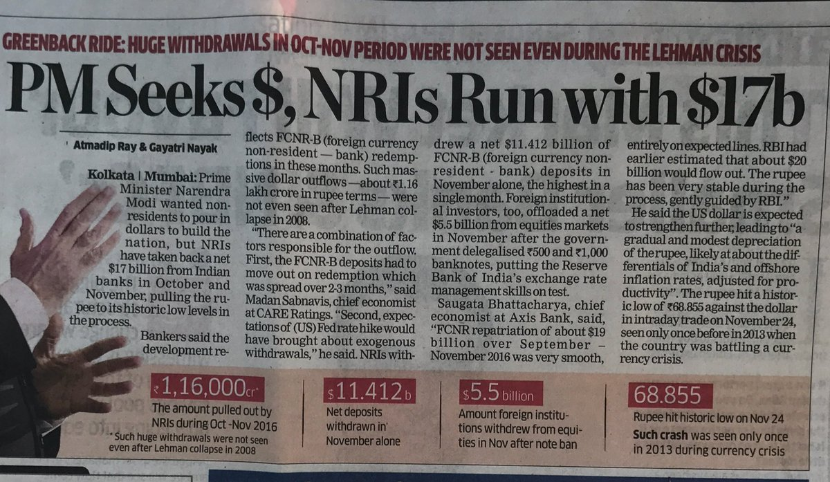 The rats are jumping the ship- Record withdrawal by NRIs who can exchange banned notes until 30 June. https://t.co/8RoC1Yskwm