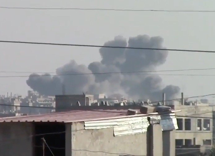 Rastan in Homs province was attacked by multiple air strikes
