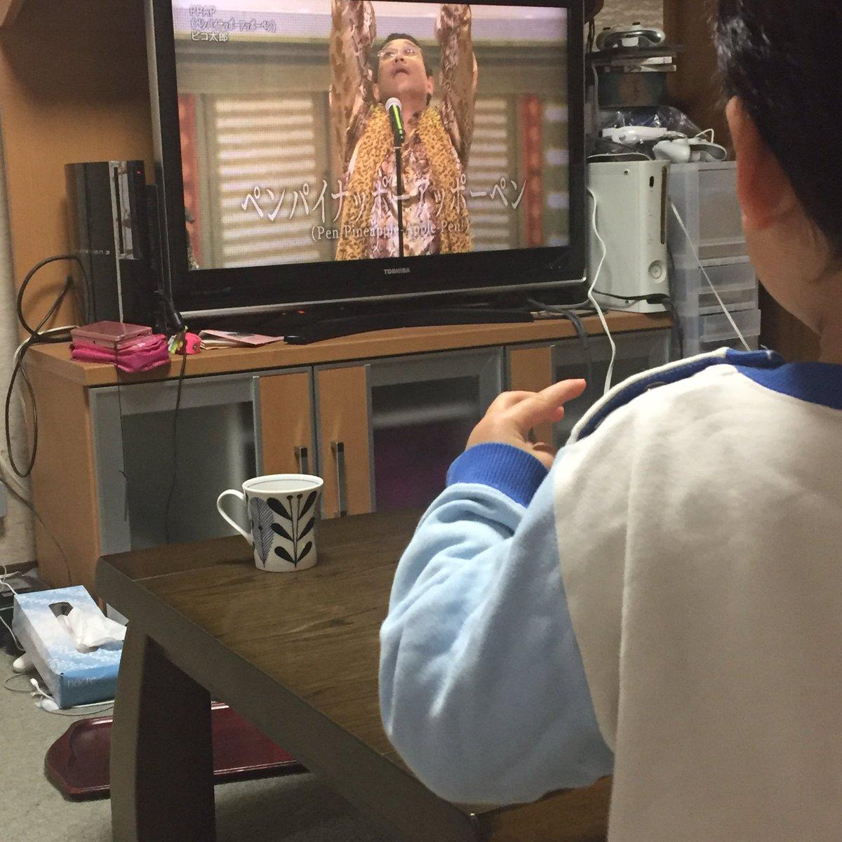 ピコ太郎の登場に、盛り上がる2才の息子でしたが、突然ニュース映像に切り替わったため、心の切り替えができなかったようで「ぱいなっぷーぺん!…あれ、どうなったの!あっぽーぺん!」と、いま隣で泣いてます(苦笑) https://t.co/jC7kozbpI1