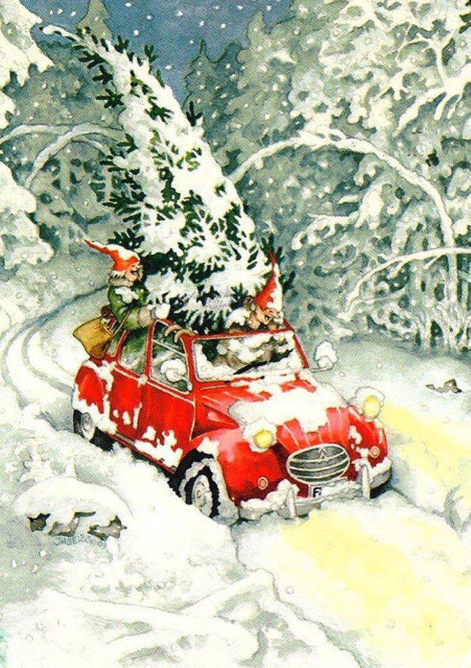 Акварельная открытка с новым годом