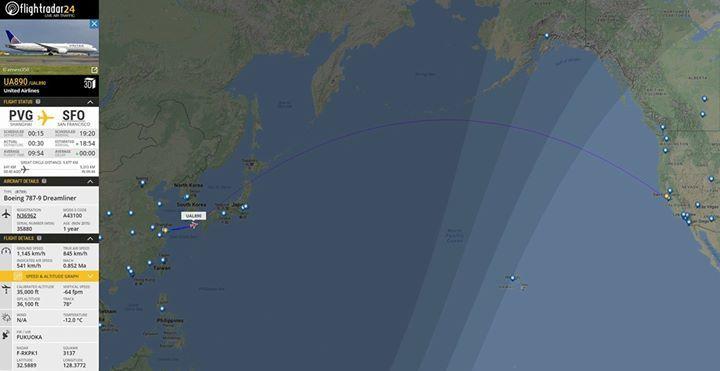 El vuelo 890 de United Airlines despegó de Shanghai durante 2017 y aterrizará en San Francisco nuevamente en 2016. https://t.co/Jh0TZu3QeI