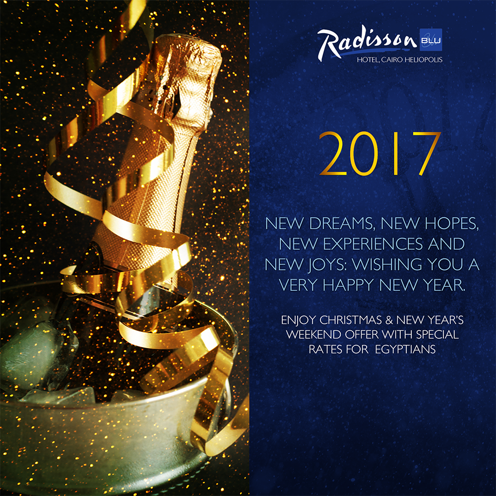 New dreams, new hopes, new experience and new joys. Wishing you a happy new year. #RadissonBluCairoHeliopolis #Hotel #Cairo #SPAon9 https://t.co/Tok74Su3bL