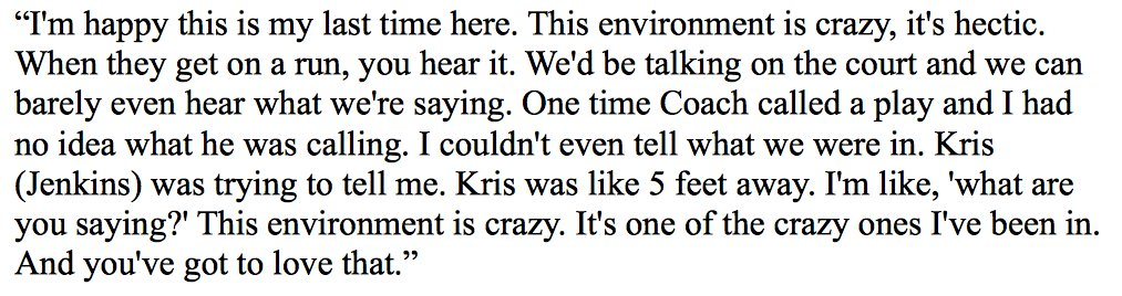 Villanova's Josh Hart on the Creighton crowd Saturday (3rd-largest in CLink history): https://t.co/WHIXXB17c7