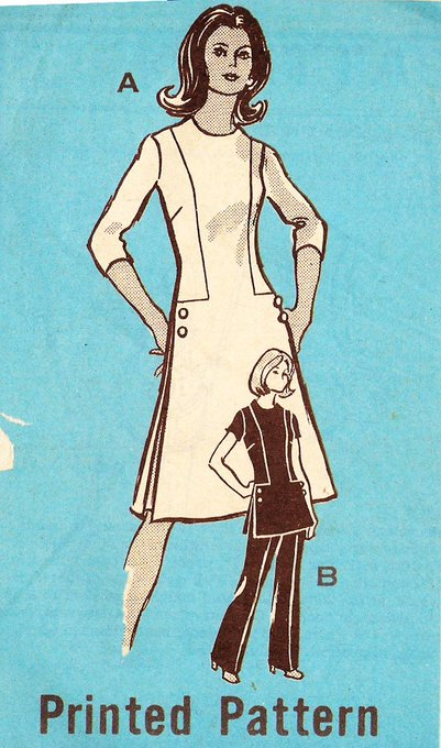 Mail Order 9218 Retro 1970s Dress, Tunic and Pants Mail Order Sewing Pattern Sz 12