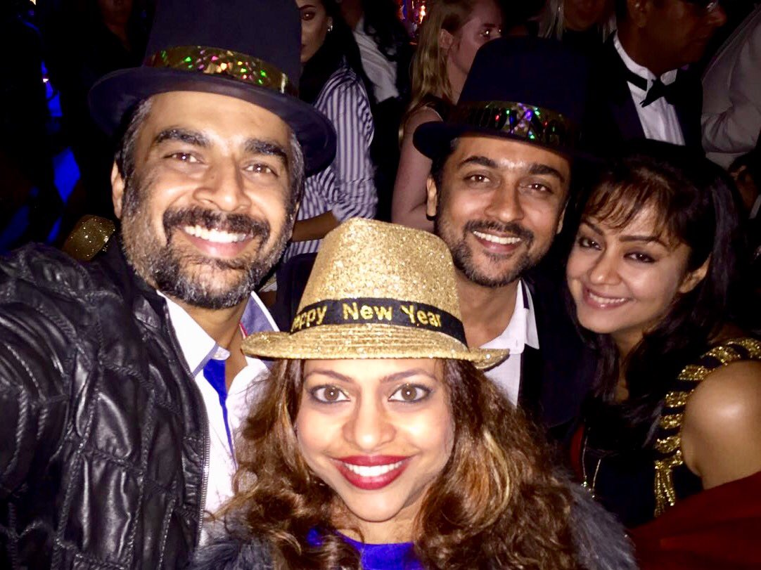 With the dearest friends and family. A blessed new year eve... Love you bro..@Suriya_offl https://t.co/qQ8p7EVe6H