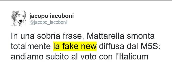 """Tweet di Jacopo Iacoboni: """"In una sobria frase, Mattarella smonta totalmente la fake new diffusa dal M5S: andiamo subito al voto con l'Italicum"""""""