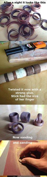 Anillo con madera