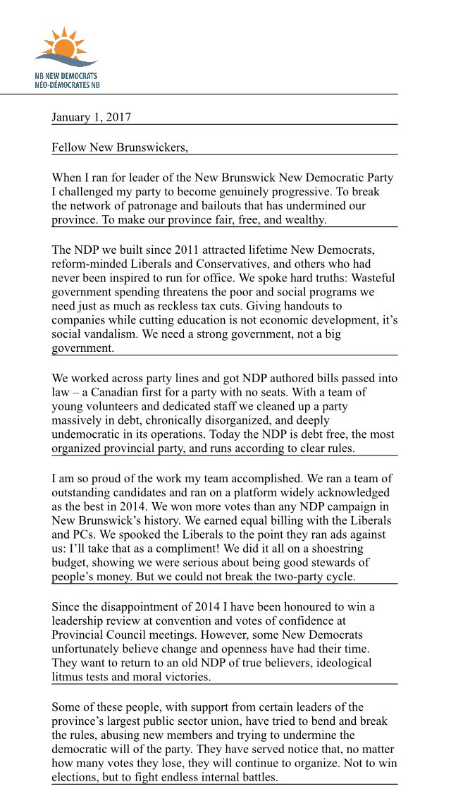 Astonishing lengthy statement by Cardy on his resignation as NB NDP leader: https://t.co/WLaRbNh6wo