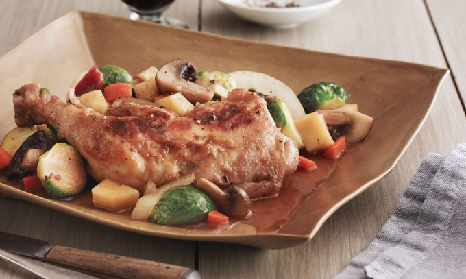 Gluten-Free Braised Chicken with Brandy, Bacon & Vegetables
