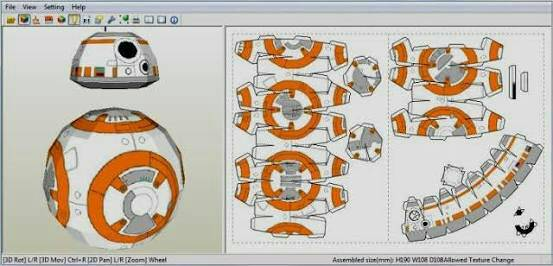 Star wars the force awakens bb8 sphero papercraft