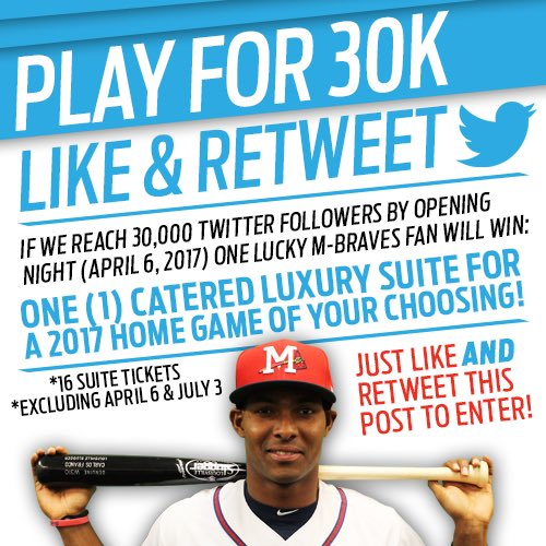 LIKE/RETWEET this post for a chance to win if we reach 30K followers by #OpeningDay2017! #MBraves https://t.co/zULH6KaX9i