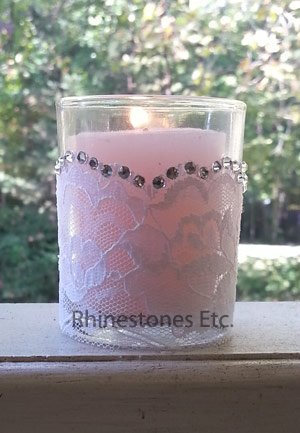 Rhinestone and Lace Glass Votive Holder